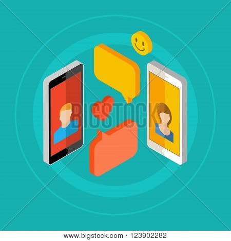 Concept of a mobile chat or conversation of people via mobile phones. Can be used to illustrate globalization, connection, phone calls or social media topics. Flat design, vector illustration.