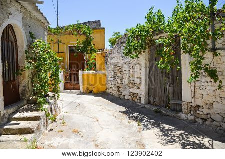 Old abandoned street on the island of Crete (Greece)