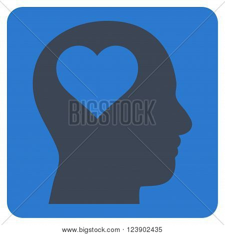 Lover Head vector symbol. Image style is bicolor flat lover head iconic symbol drawn on a rounded square with smooth blue colors.