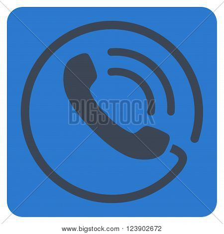 Phone Call vector icon. Image style is bicolor flat phone call iconic symbol drawn on a rounded square with smooth blue colors.