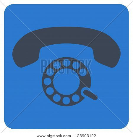 Pulse Dialing vector icon. Image style is bicolor flat pulse dialing iconic symbol drawn on a rounded square with smooth blue colors.