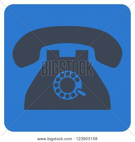 Pulse Phone vector icon. Image style is bicolor flat pulse phone pictogram symbol drawn on a rounded square with smooth blue colors.
