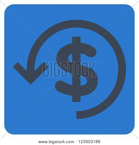 Refund vector symbol. Image style is bicolor flat refund iconic symbol drawn on a rounded square with smooth blue colors.