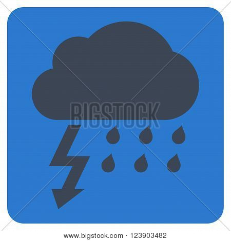 Thunderstorm vector pictogram. Image style is bicolor flat thunderstorm iconic symbol drawn on a rounded square with smooth blue colors.