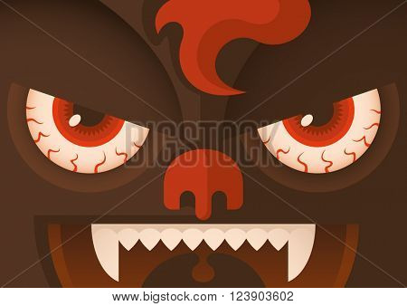 Close up of a comic monster. Vector illustration.