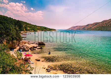 The pristine coastline and crystal clear water of the island of Rab, Croatia.