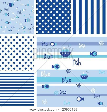Set of blue fish patterns - swatches