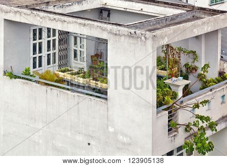 Typical balcony of Vietnamese house in Ho Chi Minh