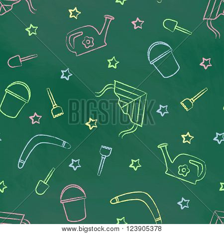 Seamless pattern green chalk board with color children's chalk drawings. Hand-drawn style. Seamless vector wallpaper with the image of kite flying, head, boomerang, star, bucket, shovel, rake
