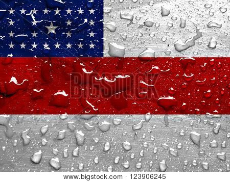 State of Amazonas flag with rain drops
