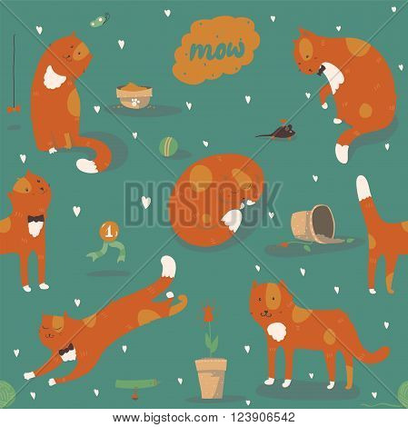 Seamless pattern with kind funky ginger cats fun stylish. Vector illustration with cat accessories - food toys broken flower. Kittens are playing jumping sleeping and watching at butterfly.