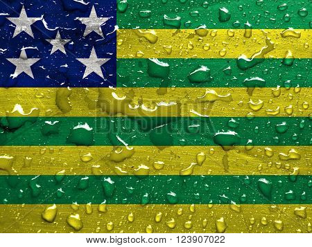 State of Goias flag with rain drops