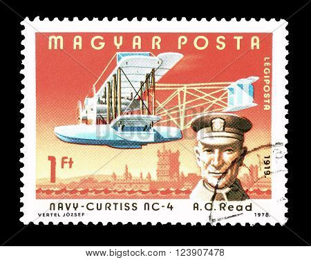 HUNGARY - CIRCA 1978 : Cancelled postage stamp printed by Hungary, that shows Albert Cushing Read.