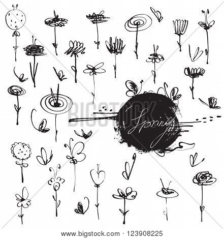 Freehand drawn unique beautiful flowers set hand-drawn with liquid ink dye with butterflies and imperfections. Vector branding stylish illustration isolated on white background simple graphic.