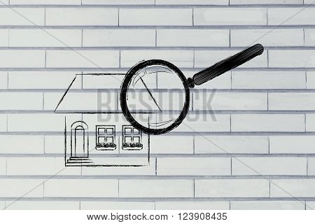 Magnifying Glass Analyzing A Residential House In Details