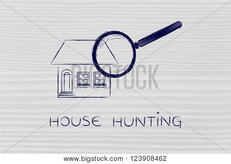 Magnifying Glass Analyzing A Residential Home, House Hunting
