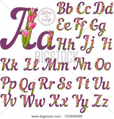 Set of cute decorative letters made with tulips vector illustration full alphabet collection