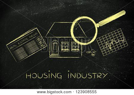 House, Newspaper & Stats With Magnifying Glass; Housing Industry