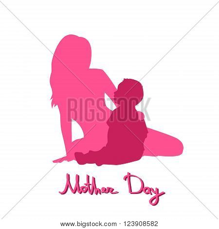 Happy Mother Day, Silhouette Woman Sit Embracing Child, Family Love Flat Vector Illustration