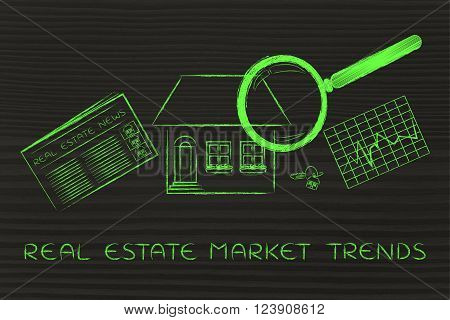 House, News & Stats With Magnifying Glass; Real Estate Market News