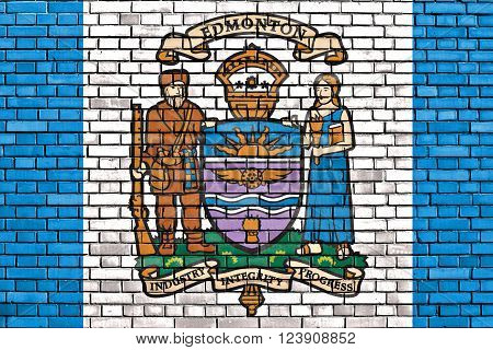 flag of Edmonton painted on brick wall ** Note: Visible grain at 100%, best at smaller sizes