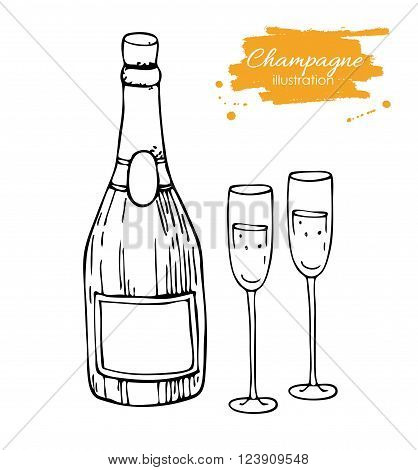 Vector champagne bottle and glass. Champagne hand drawn sketch illustration. Great drawing illustration for any kind of celebration.