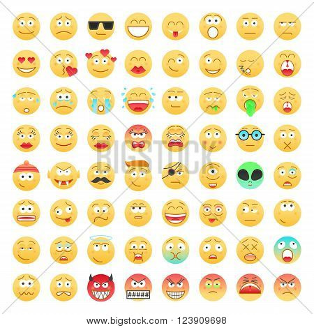 Set of Emoticons. Avatar, Smile, Emotion, Face icons. Mood and expression vector color illustration.