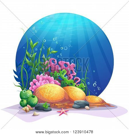 Oceanic world. Marine flora on the sandy bottom of the ocean. For design websites and mobile phones printing.
