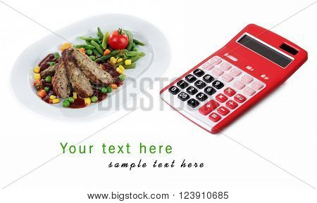 Calculator and tasty slices of meat with vegetables on plate isolated on white with space for your text