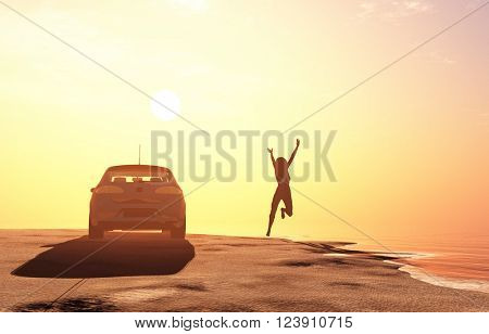 The car and the man on the beach.3D rendering