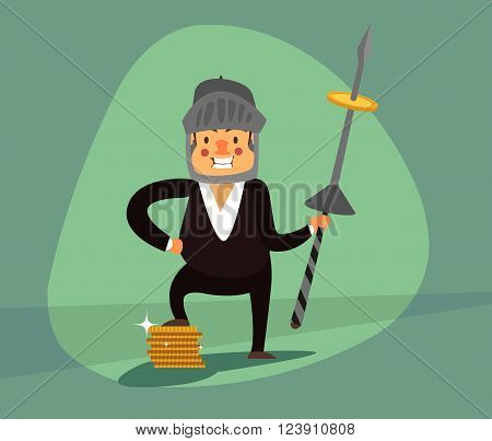 Smiling businessman with a spear and a helmet protects your income, gold coins. Green background. EPS 10.