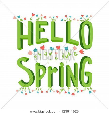 Vector spring lettering in cute cartoon style. Modern banner template on spring season with hand drawn flowers. Lettering with volumetric letters