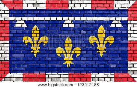 flag of Centre Val de Loire painted on brick wall