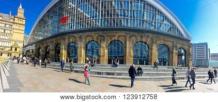 LIVERPOOL, UK: March 31st 2016: A panoramic view of the exterior of Lime Street train station in Liverpool