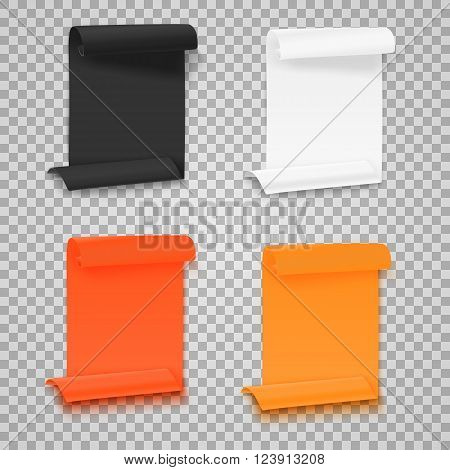 Illustration of Set of Folded Paper Sheets Template. Realistic Vector EPS10 Rolled Page Document Mockup Set Isolated on Transparent  Style Background