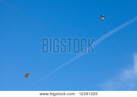 Kite Flying On The Background Blue Sky