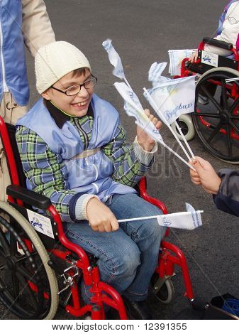 child in demonstration of disabled persons