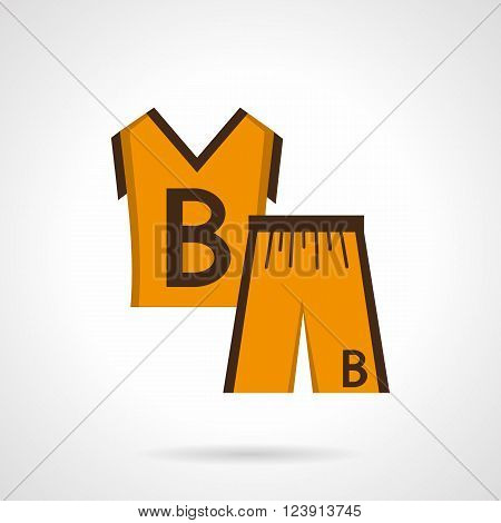 Basketball orange uniform kit. Sleeveless shirt and short with brown letter B. Sportswear.  Flat color style vector icon. Web design element for site, mobile and business.