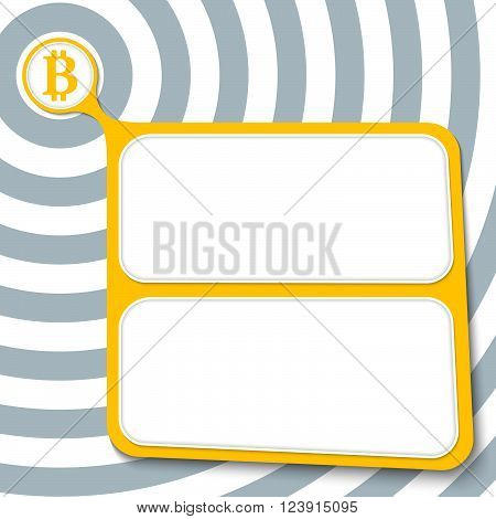 Abstract yellow box for your text and bit coin symbol