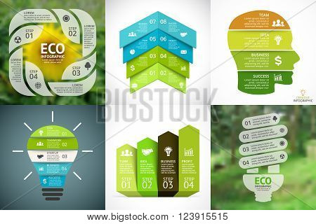 Circle arrows nature diagram for graph infographic presentation with steps parts options.