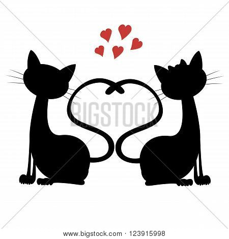 A black tomcat and a white pussycat is sitting and smiling in love