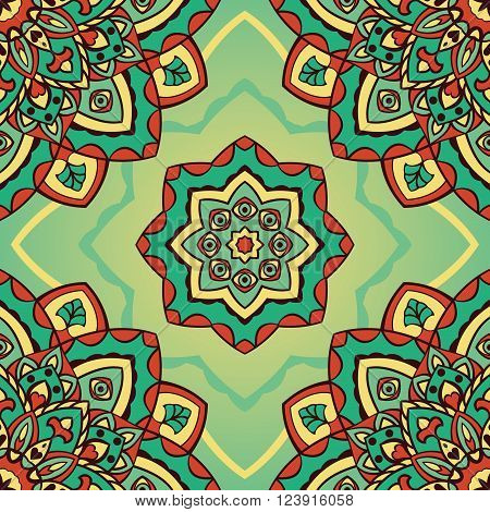 Vector seamless pattern of mandalas. Oriental vintage ornament with eyes. Template for textiles wallpaper shawls carpets pillowcase bedding wrapping paper.