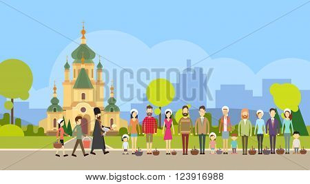 People Group Stand In Line, Priest Blessing Easter Basket Church, Consecrate Cakes, Eggs Happy Holiday Banner Flat Vector Illustration