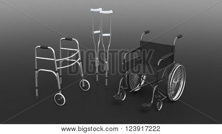 Disability wheelchair, crutch and metallic walker isolated on black, 3D Rendering