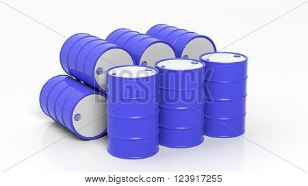 3D blue drums/barrels in stacks, isolated on white background, 3d rendering