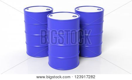Three 3D blue drums/barrels ,isolated on white background, 3d rendering