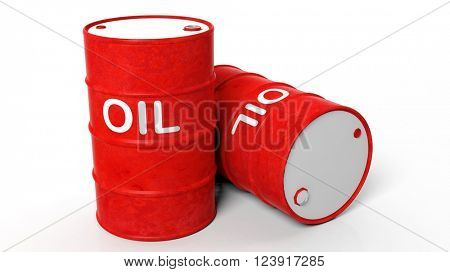 3D old red oil drums ,isolated on white background, 3d rendering
