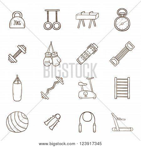 Set of cartoon hand drawn gym icons. Sport healthy life concept. Fitness equipment design