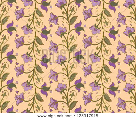 Ethnic floral ornament. Template for carpet textile shawl wallpaper wrapping. Seamless vector vintage pattern on a beige background.