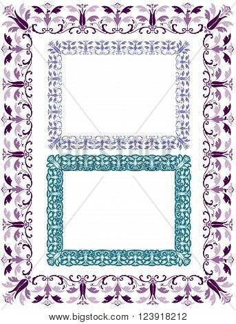 Central European medieval style abstract border with variations.